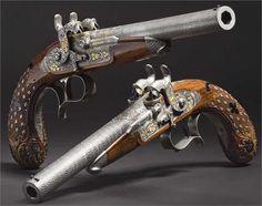 Ein Paar Luxus-Perkussionspistolen für hintereinander liegende Ladungen, im Kasten, Anton Vinzent Lebeda, Prag um 1850