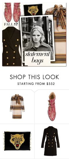 """""""Carry On: Statement Bags VI"""" by vampirella24 ❤ liked on Polyvore featuring The 2nd Skin Co., Chloé and Balmain"""