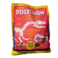 2lb T-Rex Desert Snow Multi-Purpose Substrate for reptiles is non-toxic and virtually dust-free. Derived from pristine hardwood pulp, it's highly absorbent, and resists mold and decay. Ideal for Tortoises, Ball Pythons, and Bearded Dragons.