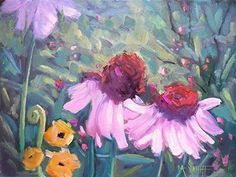 Giclee Print on Canvas Flower Landscape Painting Free Shipping Choose Your Size Ready to Hang. I found this magical scene in the Smoky Mountains of North Carolina. Cone flowers (echinacea) abound there. I took a reference photo and painted in my studio. I painted on canvas covered panel, in oils, and lightly sprayed the finished piece with varnish. The original has sold, but I am happy to offer this print on canvas, professionally printed and of the highest quality. It is printed on high...