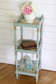 Thrifty Makeover with French Fabric Decoupage - Artsy Chicks Rule® Decopage Furniture, Blue Furniture, Refurbished Furniture, Recycled Furniture, Paint Furniture, Shabby Chic Furniture, Furniture Decor, Sanding Furniture, Furniture Design