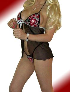 003998757d NCAA Alabama Crimson Tide Lingerie Negligee Babydoll Sexy Teddy Set with Matching  G-String Thong Panty