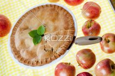 apple pie in a pan. - Top view of a apple pie in a pan.