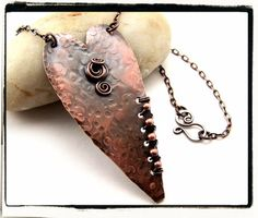 $24.99 Hammer Forged Copper Sheet Floating Heart Pendant With Chain