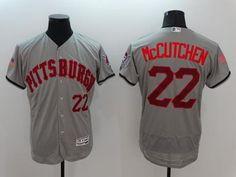 Pirates #22 Andrew McCutchen Grey Fashion Stars & Stripes Flexbase Authentic Stitched MLB Jersey