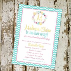 baby girl shower invitations printables - Google Search