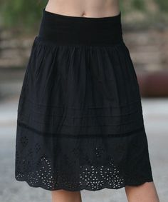 Look at this #zulilyfind! Black Embroidered Eyelet Circle Skirt #zulilyfinds