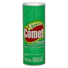 Comet with Bleach Disinfectant Cleanser cleans and deodorizes porcelain, stainless steel, fiberglass, natural marble and ceramic tile without leaving a scratch. This kitchen and bathroom cleaner is great for sinks, tubs and more.