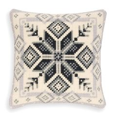 Nordic Ice Star Pillow Top - Cross Stitch, Needlepoint, Embroidery Kits – Tools and Supplies Cross Stitch Rose, Modern Cross Stitch, Cross Stitch Charts, Cross Stitch Patterns, Crochet Tablecloth Pattern, Cross Stitch Pictures, Needlepoint Patterns, Embroidery Kits, Cross Stitching