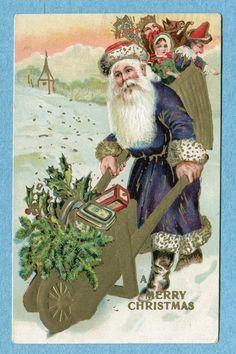 """A Merry Christmas"" European Santa with a Wheelbarrow"