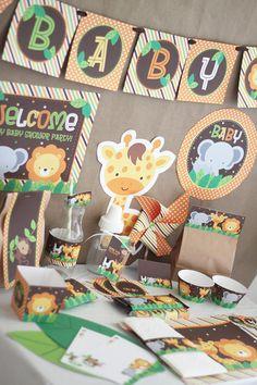 Safari (Jungle) Animals Baby Shower DIY Printable Party Kit - INSTANT DOWNLOAD $12.00