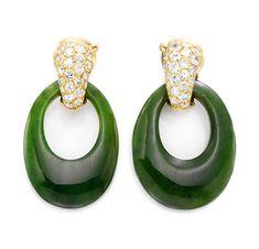 A Pair of Jade and Diamond Ear Pendants, by Van Cleef & Arpels, circa 1975