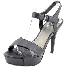 G By Guess Cenikka Women US 9.5 Black Platform Sandal. Say yes to the G by Guess® Cenikka heel for remarkable style. Glossy man-made upper. Adjustable buckle at ankle. Single toe strap. Man-made lining and footbed. Wrapped heel. Man-made outsole. Imported. Measurements: Heel Height: 4 in Weight: 11 oz Platform Height: 1 1⁄4 in Product measurements were taken using size 8, width M. Please note that measurements may vary by size.