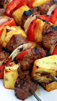 @Dayna Jornsay-Hester Pineapple steak and mango chicken! How about our next kabobs on the deck :)