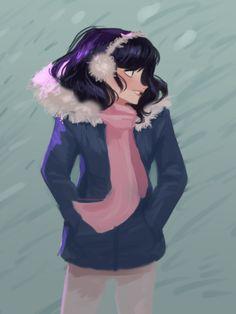 "la-di-doodles: ""❄❄❄Happy holidays everyone! Have a bundled up Marinette ❄❄❄ """