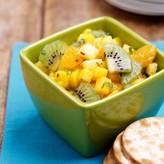 Tropical Fruit Salsa        When it comes to terrific flavor, it's hard to beat this eye-catching quartet of pineapple, mango, kiwifruit, and mandarin oranges tossed with a zesty lime-and-mint dressing.