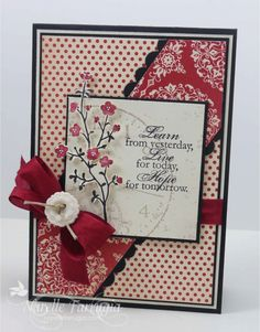 by Narelle Farrugia: Stamplicious - 1-6-14. SU Stamps: Morning Meadow, Sense of Time (ret.).  SU papers: Basic Black cs, Whisper White cs, Love Letter dsp, Morning Meadow dsp. Cherry Cobbler Seam Binding. Challenges: Friday Mashup #141/ Stampin Royalty #208/ SUO #87.