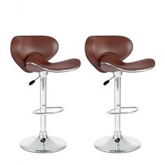 CorLiving™ CorLiving Curved Form-Fitting Adjustable Bar Stools, Brown Leatherette, 2 per Set Upholstered Bar Stools, Swivel Bar Stools, Counter Stools, Pu Fabric, Adjustable Bar Stools, Curve Design, Simple Designs, Cleaning Wipes, Leather