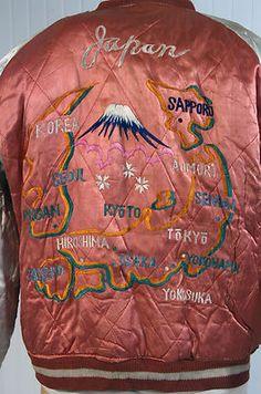 Vintage Japan US Soldier's Silk Satin Souvenir Map of Japan Jacket Tour Suka VG   eBay