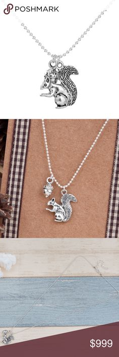 "COMING SOON!! Squirrel Acorn Charm Silver Necklace COMING SOON!! ""Like"" To Be Notified!!   Brand new in original packaging. Dainty, adorable & trendy handmade antique silver necklace featuring an acorn & mini squirrel charm. Dangling from a snake chain (18.5in) + 2in extender for adjustable length.  Made of antique silver electroplated metal, nickel & lead free. All sales are final, please ask all questions prior to purchasing! Jewelry Necklaces"