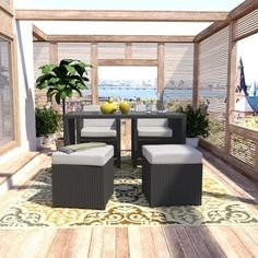 Shop for Portfolio Aldrich Grey Resin Wicker 5-piece Dining and Seating Combo Set. Get free delivery at Overstock.com - Your Online Garden