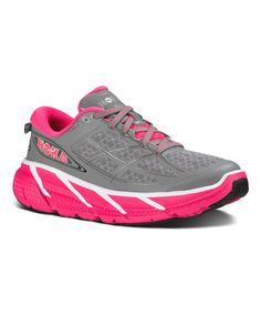 Love this HOKA ONE ONE Gray & Neon Pink Clifton 2 Running Shoe - Women by HOKA ONE ONE on #zulily! #zulilyfinds