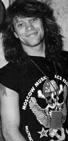 Jon Bon Jovi - B&W, long hair, late 80's, pic from Moscow Peace Festival (August 1989)