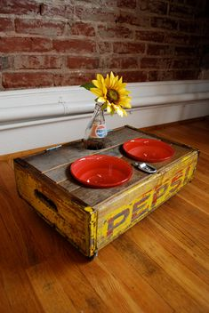 vintage rustic-y pet bowls from soda crate