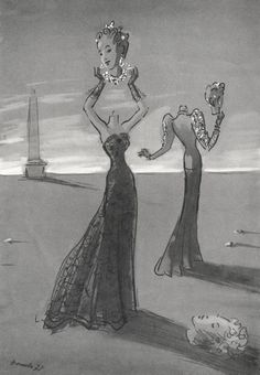 Benito 1938 Chanel & Schiaparelli, evening gowns.An impression of Paris evening fashions, as drawn by Vogue's artist, Benito. Head are separated from bodies perhaps by a diamond necklace (left) or a velvet band (right). Hair is brushed into the clouds and sprinkled with jewels. Shoulders are bare, as Chanel's famous black lace dress leaves them, or just leg-o'-mutton sleeves, like the gold-embroidered ones on Schiaparelli's new wine crêpe dinner-suit. And hands are veiled, delicately, in…