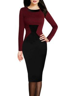 Houndstooth Pattern Knee Length Bodycon Dress Plus Size Long Sleeve Dress on buytrends.com
