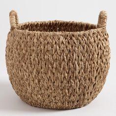 Large Natural Hyacinth Evelyn Tote Basket - v1