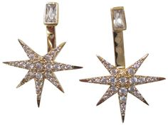 "Tai Gold Plated Pave Crystal Starburst Earring Jacket Earrings. Tai gold plated brass multi clear crystal starburst earring jacket pierced earrings. starburst measures approx .60"" , and 5 mm for the top tiny glass crystals, they close with a pierced friction back and can be adjusted to fit lobe length. earrings will come carded on a tai earring card packaged inside a box. items that are handmade may vary in size, shape and color, please use product dimensions for the most accurate..."