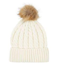 Cream Cable Knit Faux Fur Bobble Hat