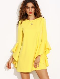 Women Yellow Crew Neck Ruffle Sleeve Shift Party Loose Casual Tops Shirt Dress  Fabric: Fabric has no stretch  Season: Summer  Type: Tunic  Pattern Type: Plain  Sleeve Length: Long Sleeve  Color: Yellow  Dresses Length: Short  Style: Casual  Ma...