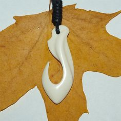 Hand carved   maori bone fish hook necklace by BDSart on Etsy, $55.00