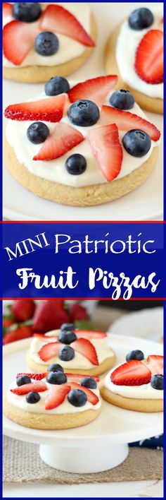 A buttery and crispy sugar cookie, loaded with cream cheese sauce, topped with juicy strawberries and blueberries. These Mini Patriotic Fruit Pizzas will be the hit of your party!
