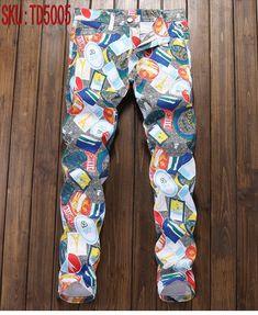 1936b52d11 Men s Floral Slim Jeans Homme Energetic Print Men Personal Cotton Pant –  Getatdasource