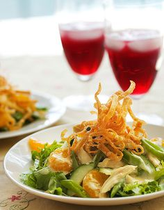 Chinese chicken salad.  Dressing is copycat of Applebee's oriental dressing.