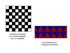 El tablero de Ajedrez es un plano teselado  por un cuadrado Una teselación con  triángulos equiláteros