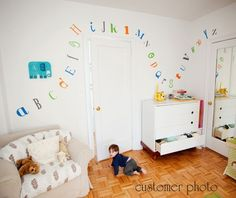 Childrens Alphabet Wall Decal - Nursery Children's Bedroom Fun and Funky Fonts - Modern Gender Neutral - Wall Art - CL125