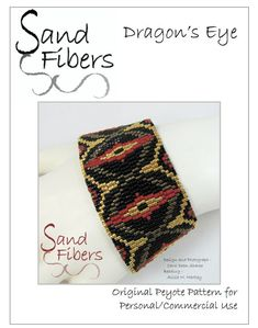 Dragons Eye is eligible for Sand Fibers 3-for- 2 Pattern Program. Purchase any two Sand Fibers patterns and receive a third, of equal or lesser value, for free. Just specify your free pattern in the Notes to Seller during checkout. _____________________ The pattern in this listing is for my original Dragons Eye peyote design, which is created in 3-drop, odd count peyote. The design is just under 1.5 wide when created with size 11/o delica beads. The pdf file includes ● a link to a fr...