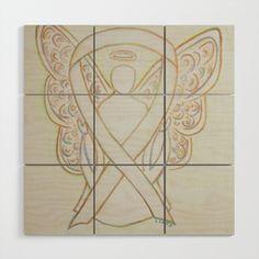 White Awareness Ribbon Angel Art Painting Wood Wall Art