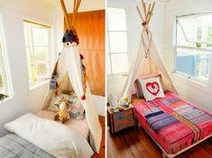 Schlafzimmer gestalten kopfteil himmelbett indianisch zelt