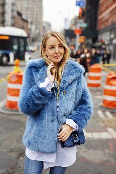 Blue fake fur & hearts | New York