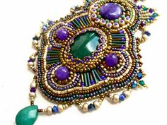 Bead embroidered necklace  gold lilac green  OOAK by budaikata, $120.00