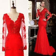 Sexy Red Long Sleeve Evening Gown Mermaid V Neck Floor Length Christmas Formal Prom Dresses Lace Chiffon L345