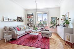 Living room with pink rug