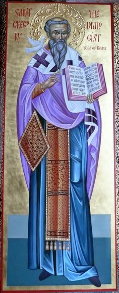 St. Gregory the Dialogist, Pope of Rome orthodox icon painted by Georgi Chimev
