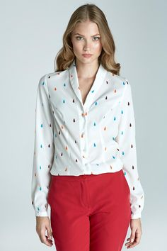 4908a9fe57626 Patterned Blouse with Petite Shawl Collars. Collar ShirtsCollar BlouseShirt  ...