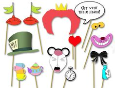Alice in Wonderland party Photo booth props - Mad hatter tea party- DIY printable